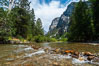 The South Fork of the Kings River flows through Kings Canyon National Park, in the southeastern Sierra mountain range. Grand Sentinel, a huge granite monolith, is visible on the right above pine trees. Late summer. Sequoia Kings Canyon National Park, California, USA. Image #09855