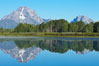 Mount Moran rises above the Snake River at Oxbow Bend. Oxbow Bend, Grand Teton National Park, Wyoming, USA. Image #13027