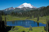 Mount Rainier rises above Lower Tipsoo Lake. Tipsoo Lakes, Mount Rainier National Park, Washington, USA. Image #13830