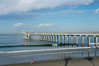 The Scripps Institution of Oceanography research pier is 1090 feet long and was built of reinforced concrete in 1988, replacing the original wooden pier built in 1915.  The Scripps Pier is home to a variety of sensing equipment above and below water that collects various oceanographic data.  The Scripps research diving facility is located at the foot of the pier.  Fresh seawater is pumped from the pier to the many tanks and facilities of SIO, including the Birch Aquarium.  The Scripps Pier is named in honor of Ellen Browning Scripps, the most significant donor and benefactor of the Institution. Scripps Institution of Oceanography, La Jolla, California, USA. Image #14749