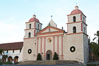 The Santa Barbara Mission.  Established in 1786, Mission Santa Barbara was the tenth of the California missions to be founded by the Spanish Franciscans.  Santa Barbara. Santa Barbara Mission, Santa Barbara, California, USA. Image #14886