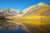 Aspen trees reflected in North Lake, Bishop Creek Canyon. Bishop Creek Canyon, Sierra Nevada Mountains, California, USA. Image #17500