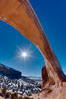 Wilson Arch rises high above route 191 in eastern Utah, with a span of 91 feet and a height of 46 feet. Wilson Arch, Utah, USA. Image #18033
