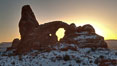 Turret Arch at sunset, winter. Turret Arch, Arches National Park, Utah, Utah, USA. Image #18146