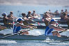 Start of the women's JV final, UCLA boat in foreground, 2007 San Diego Crew Classic. Mission Bay, San Diego, California, USA. Image #18649