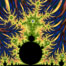 The Mandelbrot Fractal.  Fractals are complex geometric shapes that exhibit repeating patterns typified by <i>self-similarity</i>, or the tendency for the details of a shape to appear similar to the shape itself.  Often these shapes resemble patterns occurring naturally in the physical world, such as spiraling leaves, seemingly random coastlines, erosion and liquid waves.  Fractals are generated through surprisingly simple underlying mathematical expressions, producing subtle and surprising patterns.  The basic iterative expression for the Mandelbrot set is z = z-squared + c, operating in the complex (real, imaginary) number set. Image #18729