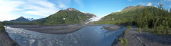 Panorama of Exit Creek, early morning, summer, as it washes over the flood plain below Exit Glacier. Exit Glacier, Kenai Fjords National Park, Alaska, USA. Image #19109