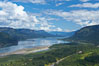The Columbia River stretches to the east, viewed from the Vista House overlook high above the Oregon (south) side of the river. Columbia River Gorge National Scenic Area, USA. Image #19373