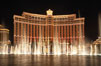 The Bellagio Hotel fountains, at night.  The Bellagio Hotel fountains are one of the most popular attractions in Las Vegas, showing every half hour or so throughout the day, choreographed to famous Hollywood music. Las Vegas, Nevada, USA. Image #20557