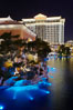 Jasmine Restaurant and Caesar's Palace Hotel are reflected in the Bellagio Hotel fountain pool at night. Las Vegas, Nevada, USA. Image #20561