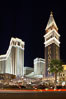 The Venetian Hotel rises above the Strip, Las Vegas Boulevard, at night. Las Vegas, Nevada, USA. Image #20562