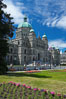 The British Columbia Parliament Buildings are located in Victoria, British Columbia, Canada and serve as the seat of the Legislative Assembly of British Columbia.  The main block of the Parliament Buildings combines Baroque details with Romanesque Revival rustication. Image #21046