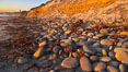 Cobblestones fall to the sand beach from the sandstone cliffs in which they are embedded. Carlsbad, California, USA. Image #21775