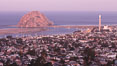 Morro Rock and Morro Bay, in pink pre-sunrise light. Morro Bay, California, USA. Image #22212