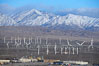 Wind turbines and Mount San Gorgonio Pass, near Interstate 10, provide electricity to Palm Springs and the Coachella Valley. San Gorgonio Pass, Palm Springs, California, USA. Image #22237