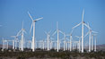 Wind turbines, in the San Gorgonio Pass, near Interstate 10 provide electricity to Palm Springs and the Coachella Valley. San Gorgonio Pass, Palm Springs, California, USA. Image #22239