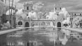 Lily Pond, Casa de Balboa and House of Hospitality, infrared. Balboa Park, San Diego, California, USA. Image #23101