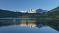 Mammoth Peak rises above a placid Tioga Lake, at sunrise. Yosemite National Park, California, USA. Image #23268
