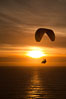 Paraglider soaring at Torrey Pines Gliderport, sunset, flying over the Pacific Ocean. La Jolla, California, USA. Image #24288