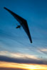 Hang Glider soaring at Torrey Pines Gliderport, sunset, flying over the Pacific Ocean. La Jolla, California, USA. Image #24290
