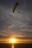 Paraglider soaring at Torrey Pines Gliderport, sunset, flying over the Pacific Ocean. La Jolla, California, USA. Image #24294