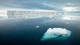 Floating ice and glassy water. Paulet Island, Antarctic Peninsula, Antarctica. Image #24889