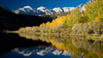 Sierra Nevada mountains and aspen trees, fall colors reflected in the still waters of North Lake. Bishop Creek Canyon Sierra Nevada Mountains, Bishop, California, USA. Image #26061
