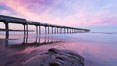 Scripps Pier, sunrise. Scripps Institution of Oceanography, La Jolla, California, USA. Image #26456