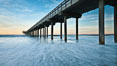 Scripps Pier, sunrise. Scripps Institution of Oceanography, La Jolla, California, USA. Image #26458