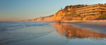 La Jolla Coastline, Hubbs Hall at SIO, Black's Beach, Torrey Pines State Reserve, panorama, sunset. Scripps Institution of Oceanography, California, USA. Image #26537