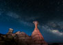 The Milky Way rises in the sky above the Toadstool Hoodoos near the Paria Rimrocks.  Rimrock Hoodoos. Grand Staircase - Escalante National Monument, Utah, USA. Image #26616