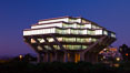 UCSD Library glows at sunset (Geisel Library, UCSD Central Library). University of California, San Diego, USA. Image #26910