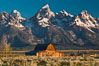 John Moulton barn at sunrise with Teton Range, on Mormon Row in Grand Teton National Park, Wyoming. Grand Teton National Park, Wyoming, USA. Image #26965