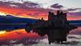 Mono Lake sunset, Sierra Nevada mountain range and tufas, clouds reflected in the still waters of Mono Lake. Mono Lake, California, USA. Image #26978