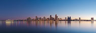 San Diego downtown city skyline and waterfront, sunrise, dawn, viewed from Coronado Island. San Diego, California, USA. Image #27088