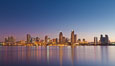 San Diego downtown city skyline and waterfront, sunrise, dawn, viewed from Coronado Island. San Diego, California, USA. Image #27090