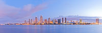 San Diego bay and skyline at sunrise, viewed from Coronado Island. San Diego, California, USA. Image #27176