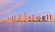 San Diego bay and skyline at sunrise, viewed from Coronado Island. San Diego, California, USA. Image #27177