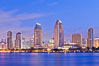San Diego bay and skyline at sunrise, viewed from Coronado Island. San Diego, California, USA. Image #27179