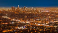 Downtown Los Angeles at night, street lights, buildings light up the night. Los Angeles, California, USA. Image #27723