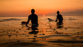 Two surfers at sunset, blood red dusk, Encinitas. Encinitas, California, USA. Image #27976