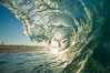 Breaking wave, morning, barrel shaped surf, California. California, USA. Image #27996