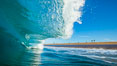 Breaking wave, morning, barrel shaped surf, California. California, USA. Image #28001