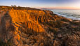Torrey Pines Cliffs and Pacific Ocean, Razor Point view to La Jolla, San Diego, California. Torrey Pines State Reserve, USA. Image #28484