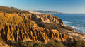 Torrey Pines Cliffs and Pacific Ocean, Razor Point view to La Jolla, San Diego, California. Torrey Pines State Reserve, USA. Image #28487