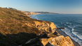 Torrey Pines Cliffs and Pacific Ocean, Razor Point view to La Jolla, San Diego, California. Torrey Pines State Reserve, USA. Image #28488