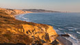 Torrey Pines Cliffs and Pacific Ocean, Razor Point view to La Jolla, San Diego, California. Torrey Pines State Reserve, USA. Image #28489