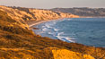 Black's Beach and Torrey Pines Cliffs and Pacific Ocean, Razor Point view to La Jolla, San Diego, California. Torrey Pines State Reserve, USA. Image #28490
