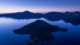 Crater Lake and Wizard Island at sunrise. Crater Lake National Park, Oregon, USA. Image #28668