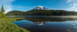 Mount Rainier is reflected in the calm waters of Reflection Lake, early morning. Mount Rainier National Park, Washington, USA
